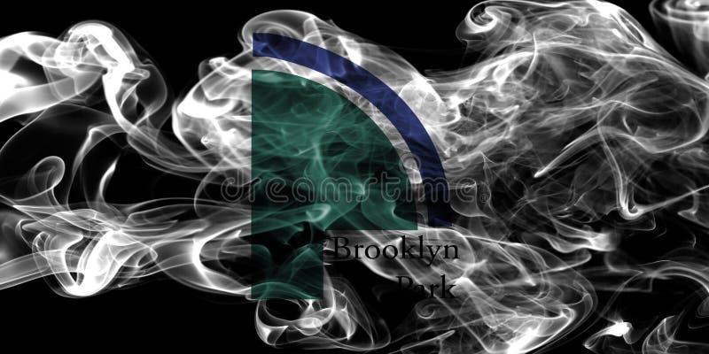 Bandeira do fumo da cidade de Brooklyn Park, estado de Minnesota, Estados Unidos de fotos de stock royalty free