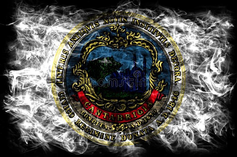 Bandeira do fumo da cidade de Cambridge, estado de Massachusetts, Estados Unidos de fotos de stock