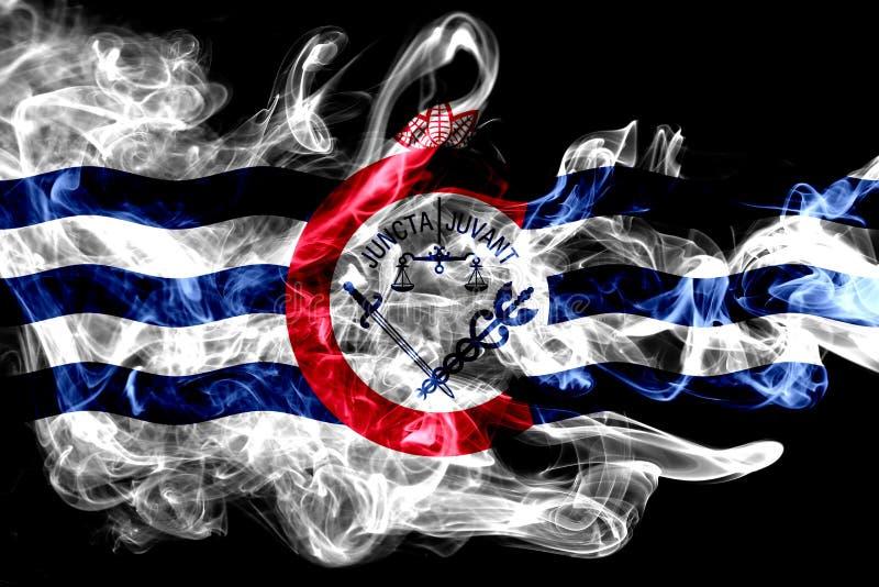 Bandeira do fumo da cidade de Cincinnati, estado de Ohio, Estados Unidos da América imagem de stock