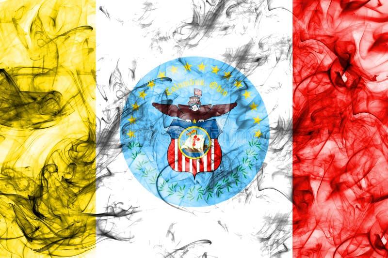 Bandeira do fumo da cidade de Columbo, estado de Ohio, Estados Unidos da América imagens de stock royalty free