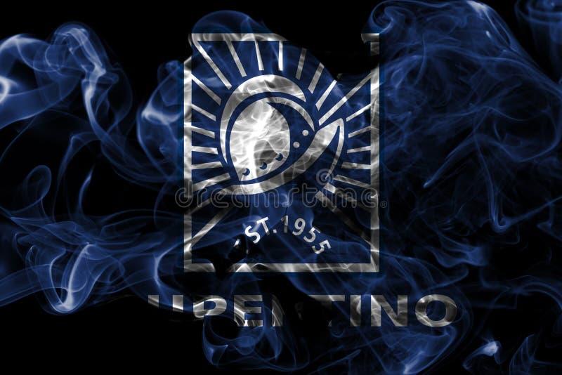 Bandeira do fumo da cidade de Cupertino, estado de Califórnia, Estados Unidos do Am foto de stock royalty free