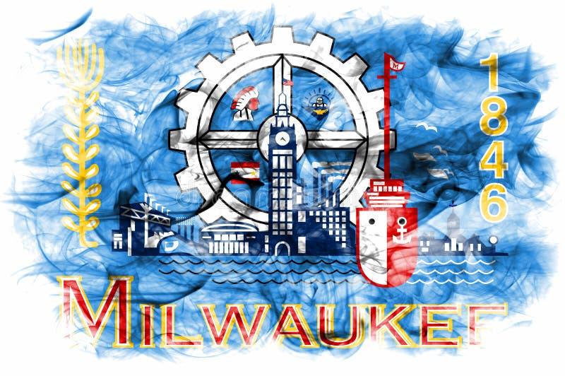 Bandeira do fumo da cidade de Milwaukee, estado de Wisconsin, Estados Unidos da América fotografia de stock