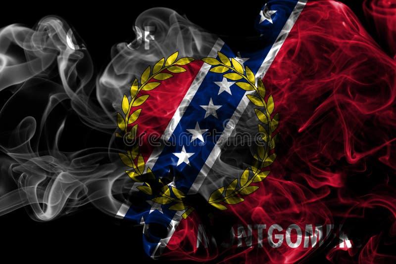 Bandeira do fumo da cidade de Montgomery, estado de Alabama, Estados Unidos de Amer fotografia de stock royalty free
