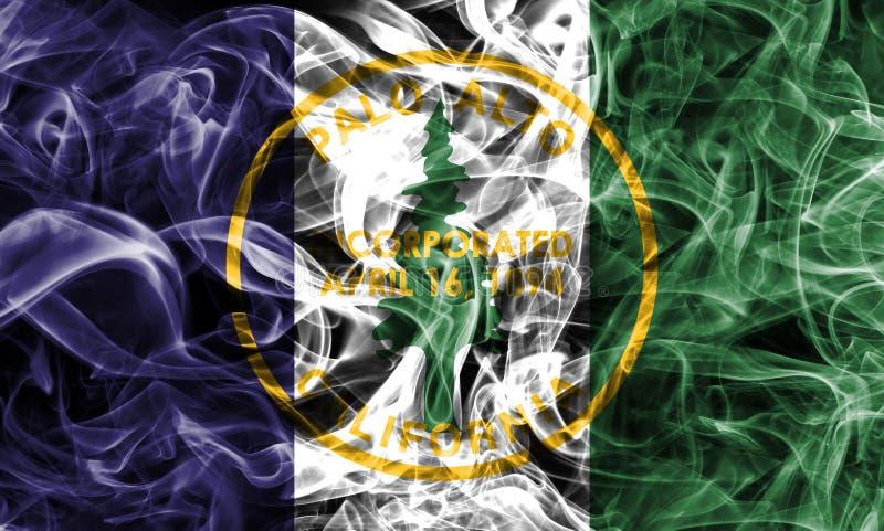 Bandeira do fumo da cidade de Palo Alto, estado de Califórnia, Estados Unidos do Am foto de stock royalty free