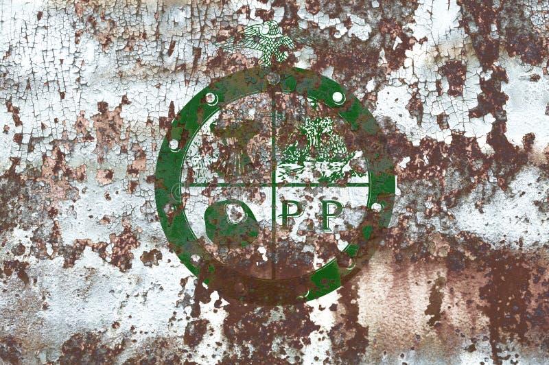 Bandeira do fumo da cidade de Pee Pee Township, estado de Ohio, Estados Unidos de A fotos de stock