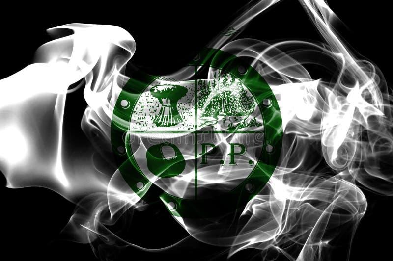 Bandeira do fumo da cidade de Pee Pee Township, estado de Ohio, Estados Unidos de A imagens de stock