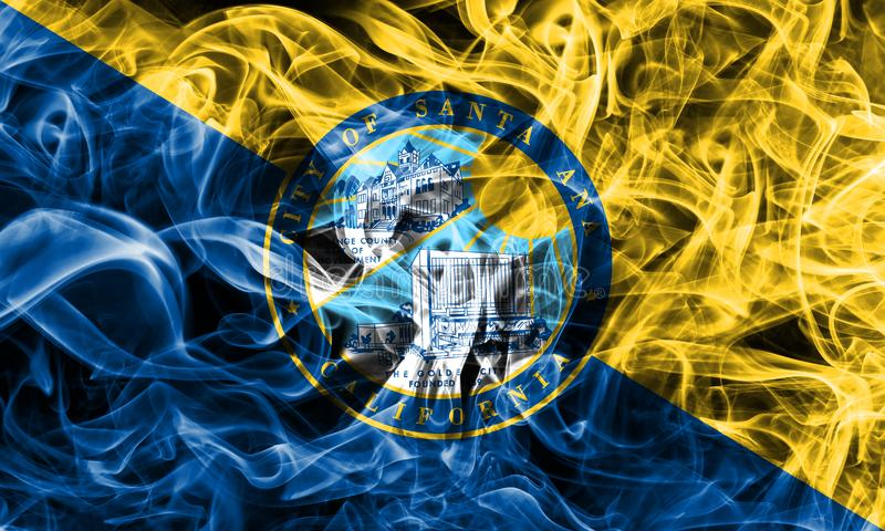 Bandeira do fumo da cidade de Santa Ana, estado de Califórnia, Estados Unidos do Am imagens de stock