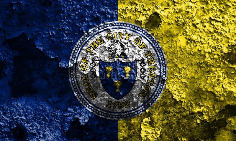 Bandeira do fumo da cidade de Trenton, estado de New-jersey, Estados Unidos de Amer fotos de stock