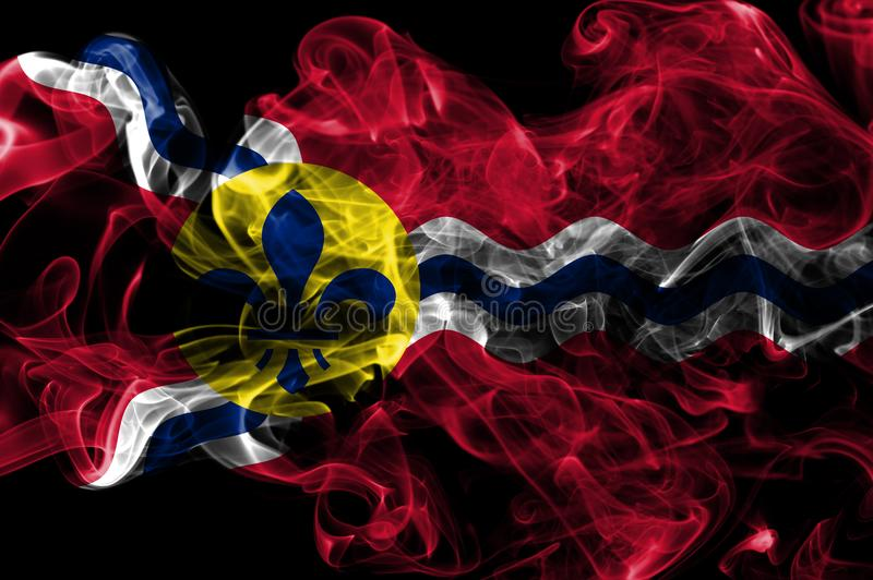 Bandeira do fumo da cidade do Saint Louis, estado de Missouri, Estados Unidos do Am foto de stock