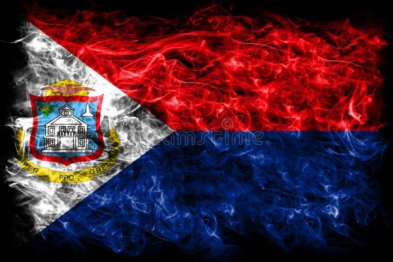 Bandeira do fumo de Sint Maarten, bandeira dependente holandesa do território ilustração do vetor