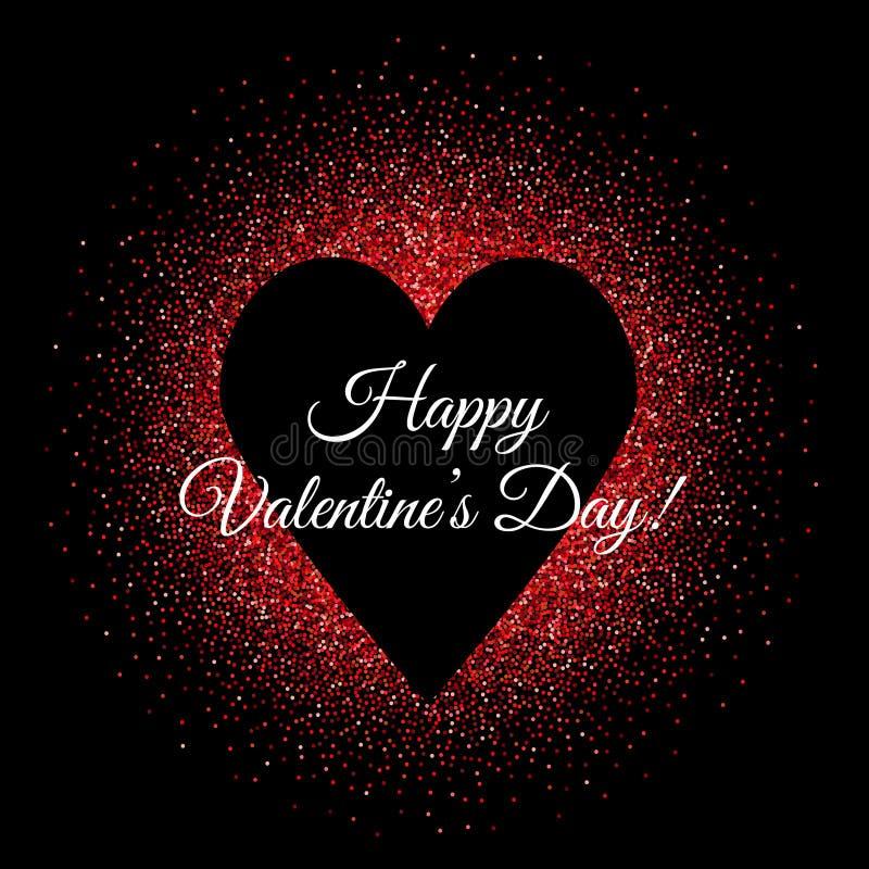 Bandeira do fundo do dia de Valentim do St com forma preta do coração e brilhos vermelhos ilustração stock