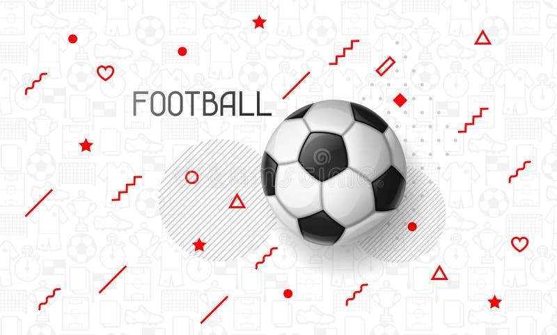 Bandeira do futebol ou do futebol com bola Ostenta a ilustração ilustração stock