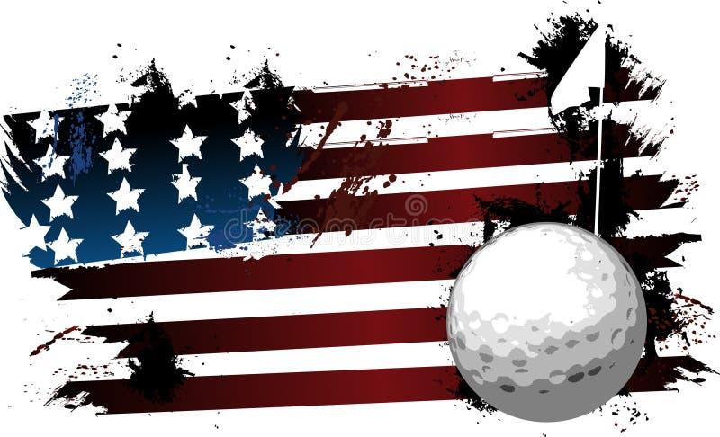 Bandeira do grunge da bola de golfe ilustração stock