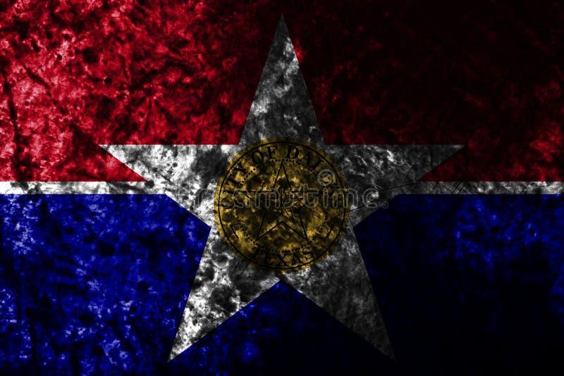 Bandeira do grunge da cidade de Dallas na parede suja velha, estado de Illinois, Estados Unidos da América ilustração stock