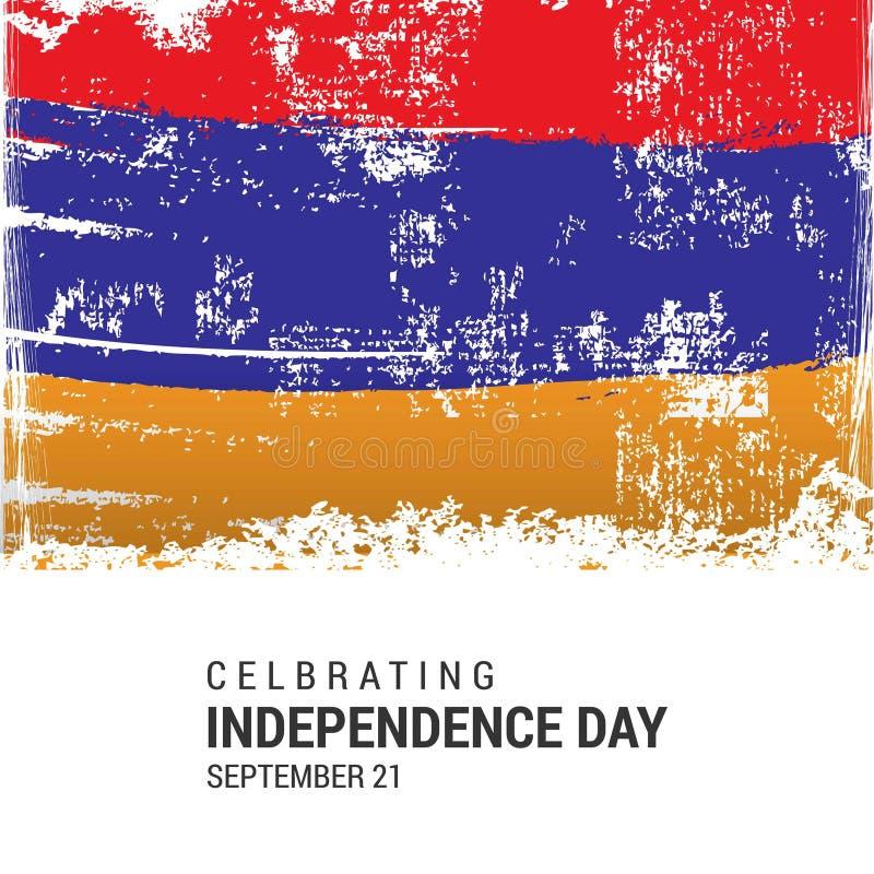 Bandeira do Grunge de Armênia com Dia da Independência o 21 de setembro ilustração royalty free