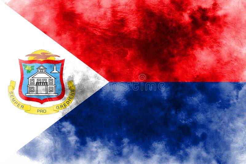 Bandeira do grunge de Sint Maarten, bandeira dependente holandesa do território ilustração do vetor