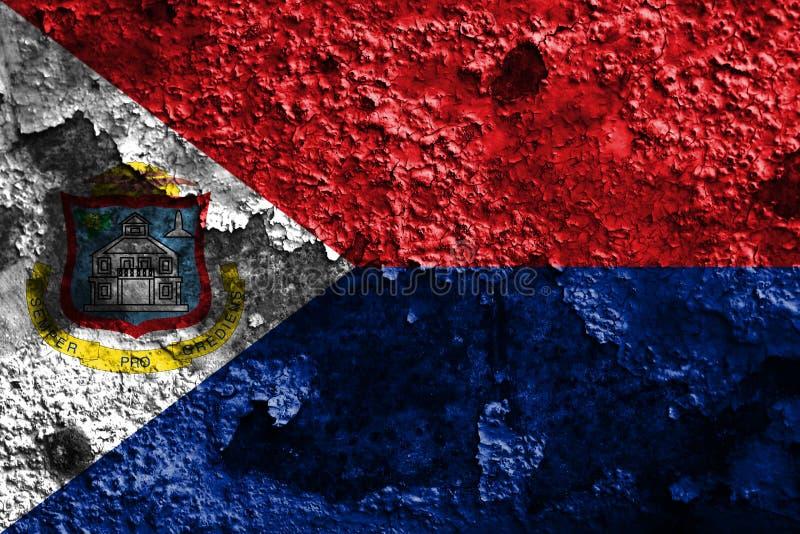 Bandeira do grunge de Sint Maarten, bandeira dependente holandesa do território fotos de stock