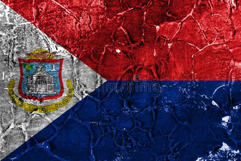 Bandeira do grunge de Sint Maarten, bandeira dependente holandesa do território ilustração royalty free