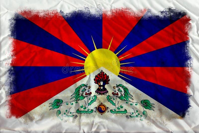 Bandeira do grunge de Tibet fotografia de stock
