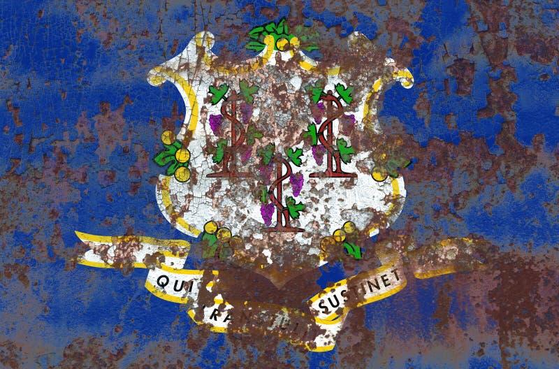 Bandeira do grunge do estado de Connecticut, Estados Unidos da América fotos de stock royalty free