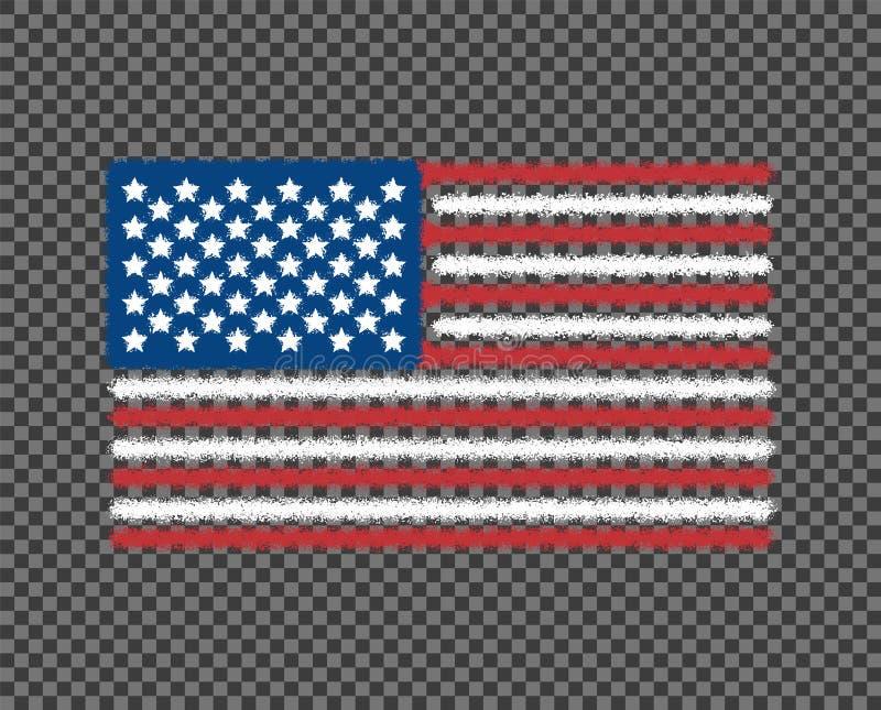 A bandeira do grunge do Estados Unidos da América é colorida ru?do O projeto da arte do vetor, molde, multi-coloriu-nos bandeira, ilustração royalty free