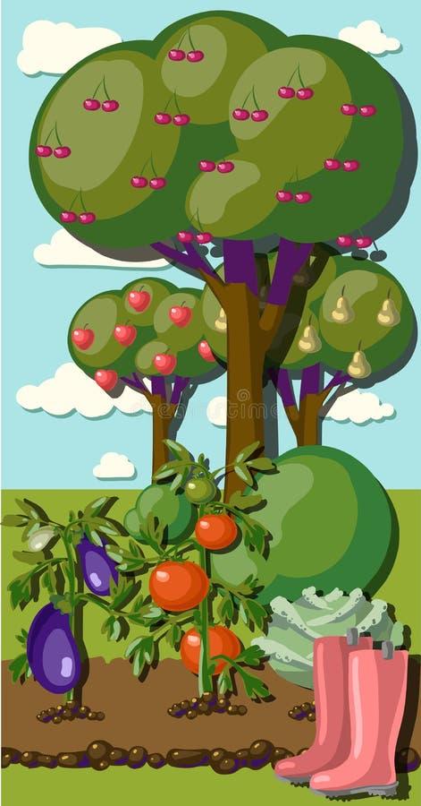 Bandeira do jardim do vintage com vegetarianos da raiz ilustração royalty free