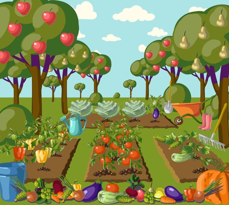 Bandeira do jardim do vintage com vegetarianos da raiz ilustração do vetor