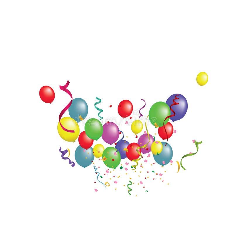 Bandeira do Livro Branco, balões coloridos e confetes coloridos O arquivo ilustração do vetor