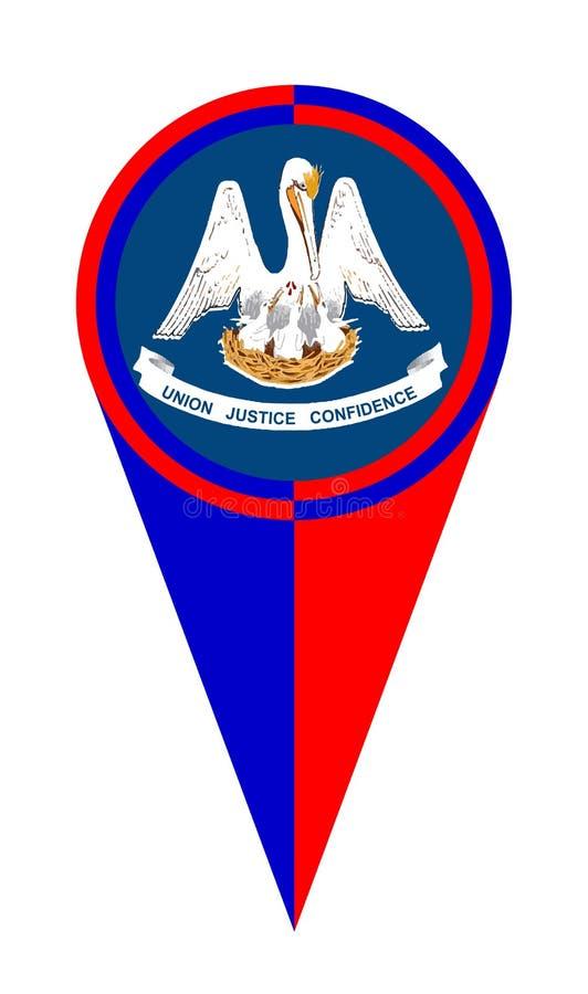 Bandeira do lugar do ponteiro do mapa de Louisiana ilustração stock