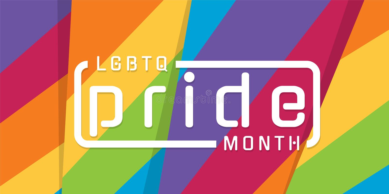 Bandeira do mês do orgulho de LGBTQ com texto da tipografia no projeto colorido afiado moderno do vetor do fundo do arco-íris do  ilustração stock