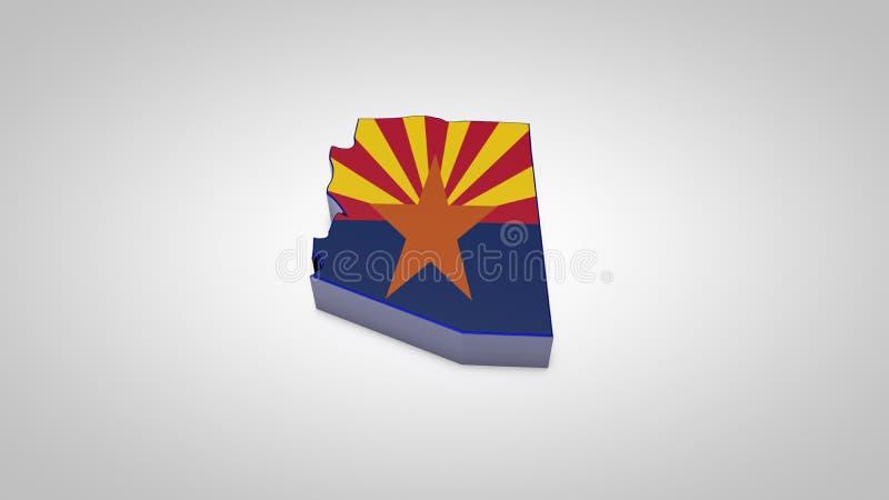 a bandeira do mapa 3d do estado do Arizona isolada no branco, 3d rende ilustração royalty free