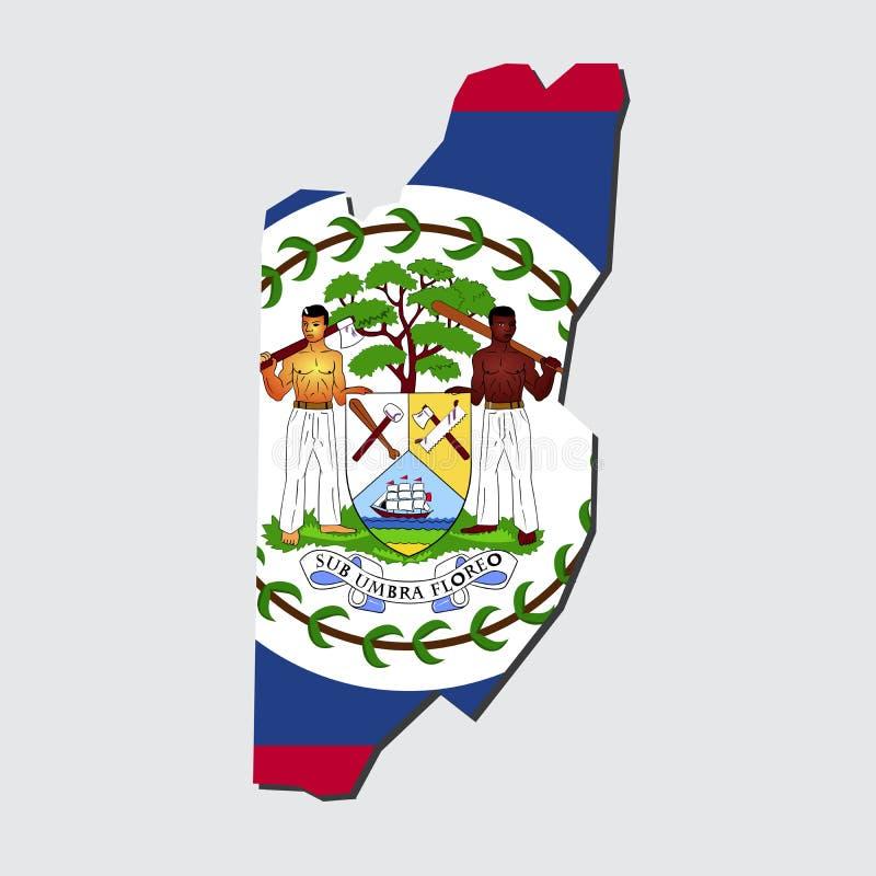 Bandeira do mapa de Belize ilustração do vetor