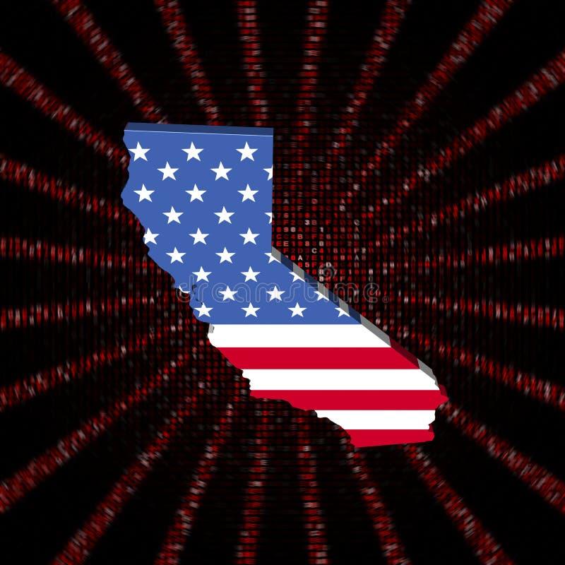 A bandeira do mapa de Califórnia no vermelho encanta a ilustração da explosão do código ilustração royalty free