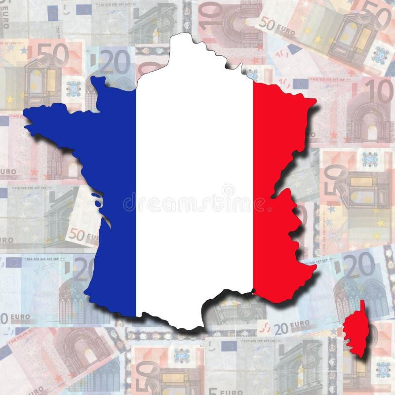 Bandeira do mapa de France em euro ilustração stock