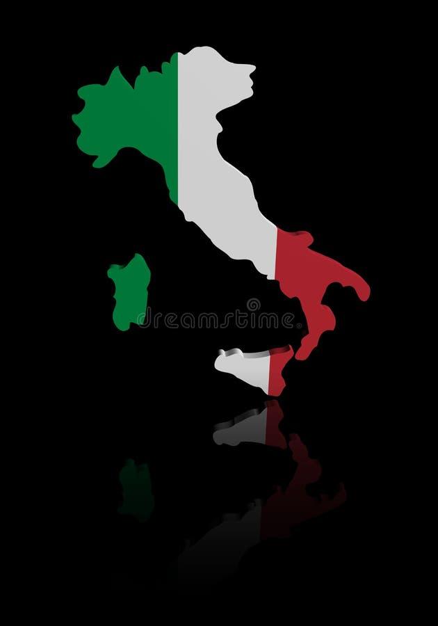 Bandeira do mapa de Itália com ilustração da reflexão ilustração royalty free