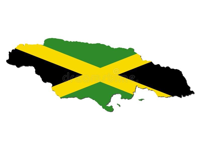 Bandeira do mapa de Jamaica ilustração stock