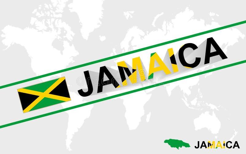 Bandeira do mapa de Jamaica e ilustração do texto ilustração stock