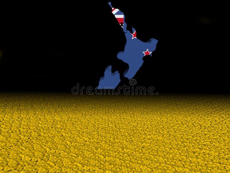 A bandeira do mapa de Nova Zelândia com dólar inventa a ilustração do primeiro plano ilustração stock