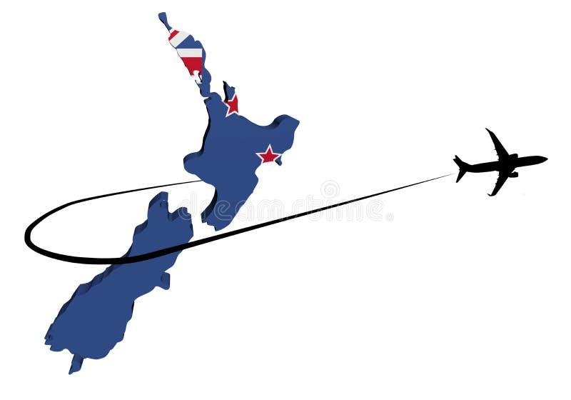 Bandeira do mapa de Nova Zelândia com ilustração do plano e do swoosh 3d ilustração stock
