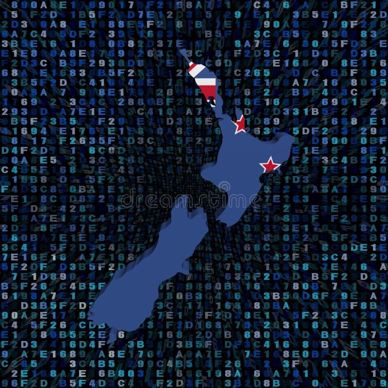 A bandeira do mapa de Nova Zelândia encanta sobre a ilustração do código ilustração stock