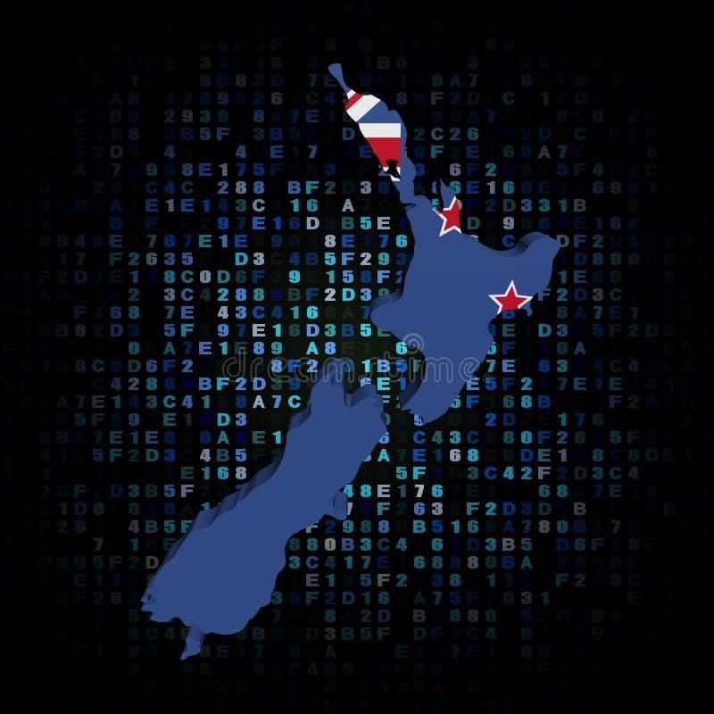 A bandeira do mapa de Nova Zelândia encanta sobre a ilustração do código ilustração royalty free