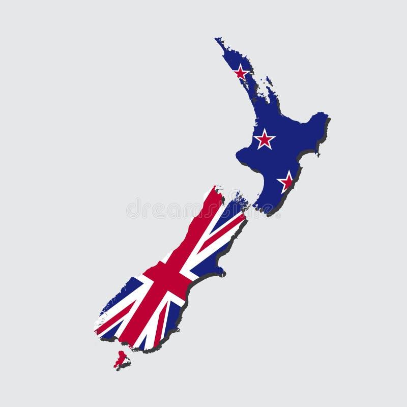 Bandeira do mapa de Nova Zelândia ilustração do vetor