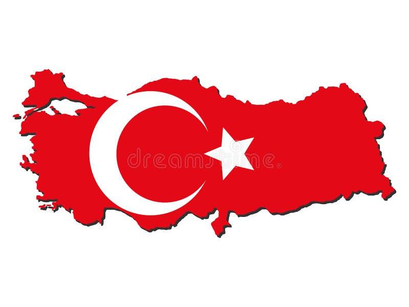 Bandeira do mapa de Turquia ilustração do vetor