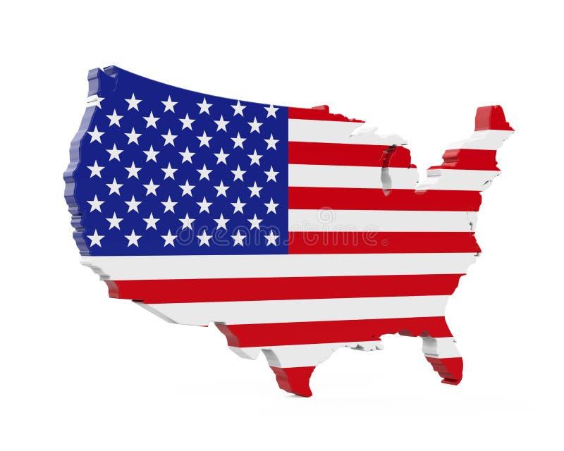 Bandeira do mapa do Estados Unidos da América ilustração royalty free
