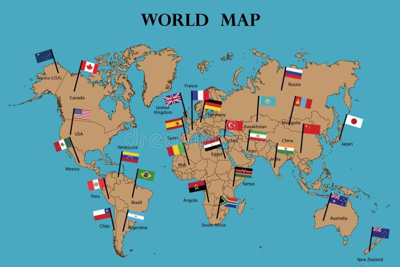 Bandeira do mapa do mundo e do mundo ilustração royalty free