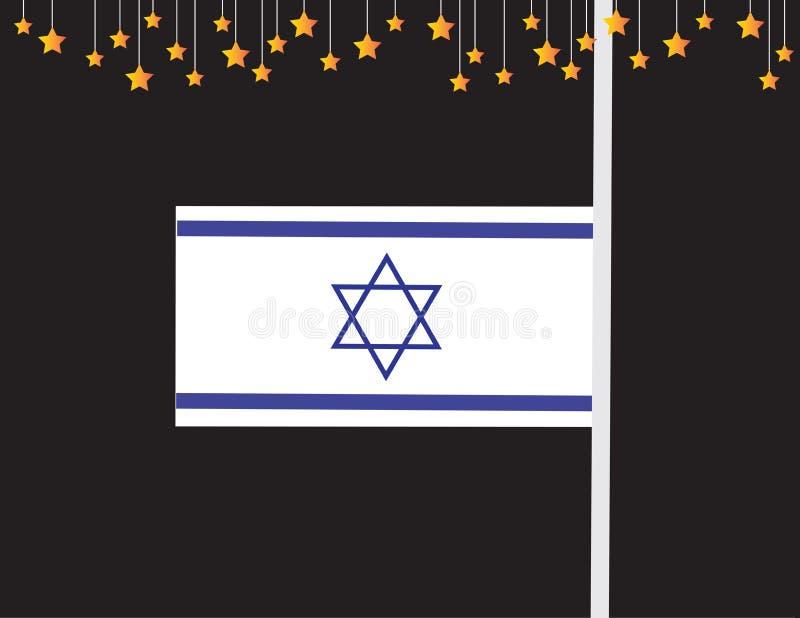 Bandeira do Memorial Day de Israel Bandeira e estrelas de Israel ilustração royalty free