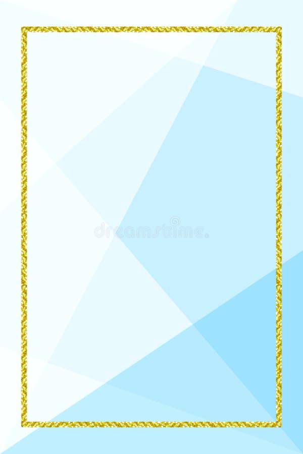 Bandeira do molde com quadro dourado do brilho no fundo geométrico azul macio, quadro do ouro do brilho azul para anunciar a pro ilustração do vetor
