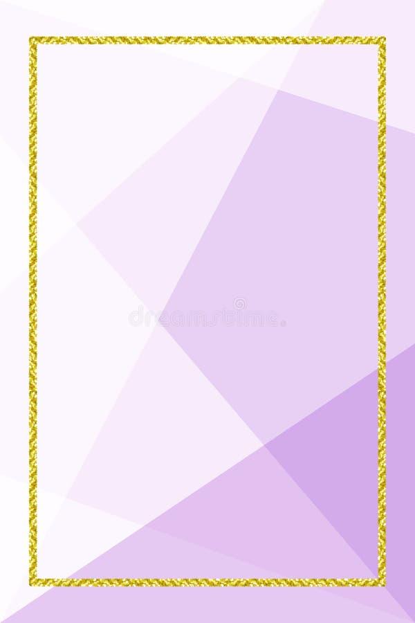 Bandeira do molde com quadro dourado do brilho no fundo geométrico roxo macio, quadro do ouro do brilho para anunciar a promoç ilustração royalty free