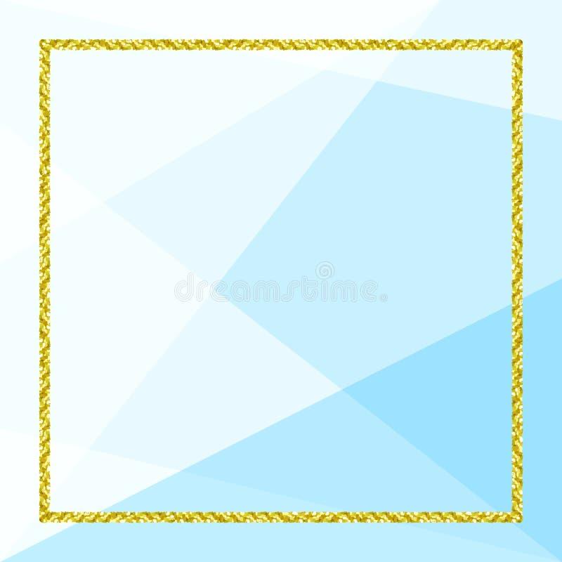 Bandeira do molde com quadro dourado do brilho no fundo geom?trico azul macio, quadro do ouro do brilho azul para anunciar a prom ilustração do vetor