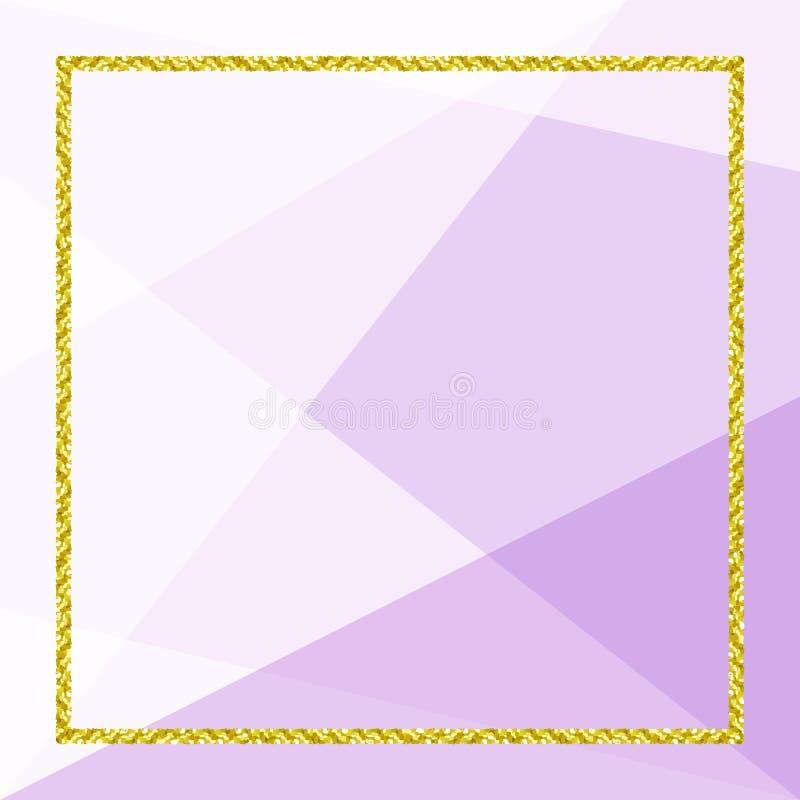 Bandeira do molde com quadro dourado do brilho no fundo geom?trico roxo macio, quadro do ouro do brilho para anunciar a promo??o ilustração stock
